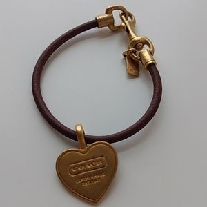 Coach Brown Leather and Burnished Gold Bracelet